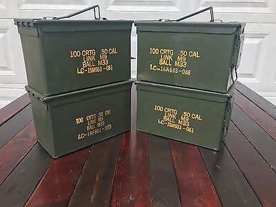 4 Pack 50 Cal M2a1 AMMO CANS BOXES CASES Good condition