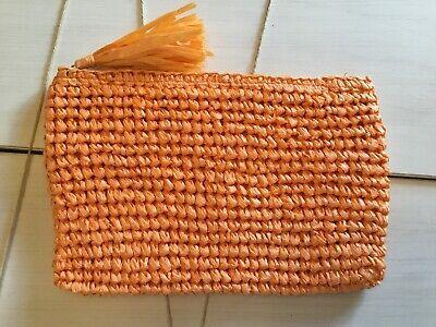 "New! Woven Orange Straw Clutch Summer Beach Handbag 11"" x 7"""