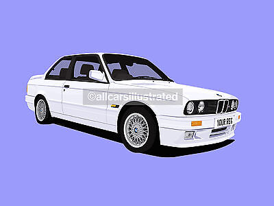 BMW 3 SERIES E30 CAR ART PRINT PICTURE (SIZE A4). PERSONALISE IT!
