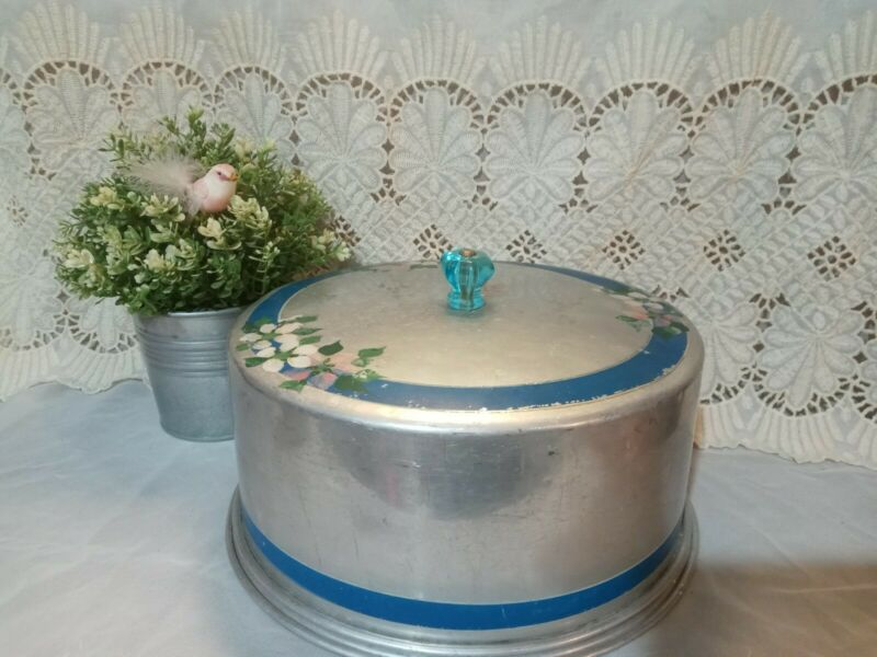 Vintage Blue Silver Retro Hand Painted Pink Floral Metal Cake Carrier Farmhouse