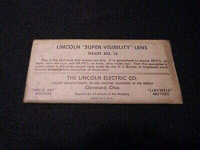 Vintage Lincoln Welding Helmet Lens Super Visibility 2 X 4 14 Shade No.12