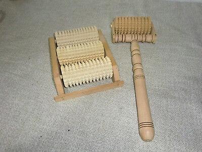 Fußmassageroller 3 Holzwalzen SET mit Rückmassageroller Roller NEU! Geschenkidee