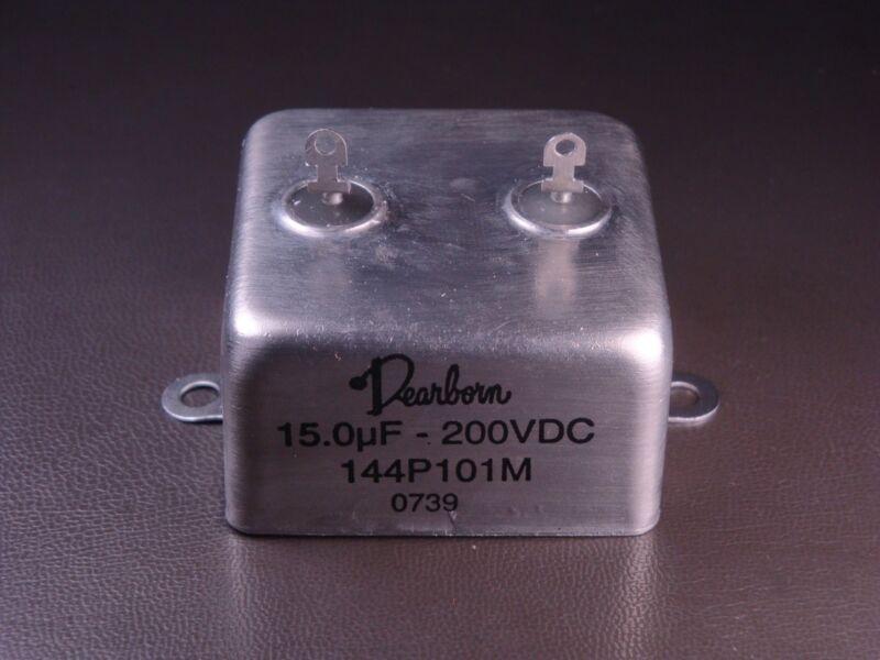 144P101M Dearborn Metalized Film Capacitor 200V 15 uF µF 20% Top Terminals NOS