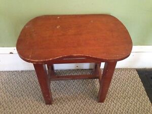 Small Antique Primitive Pine Kidney Table