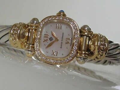 DAVID YURMAN 18K GOLD, SS DIAMOND CABLE WATCH