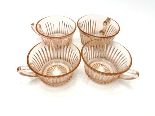 Pink Depression Era Glass Tea Cups Antique Set of Four