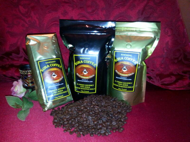 100% Hawaiian Kona - Whole Bean Coffee - ONE POUND Bag Fresh Roasted