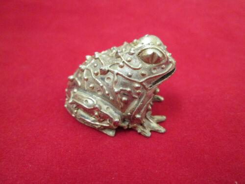 KAREN CALLAN Signed Brass Frog Paperweight Card Holder Small Figurine