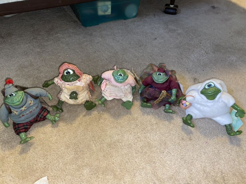 5 RUSS Country Folks Frog figures Easter Bunny Fairy Mom Leapin Louie Fairy