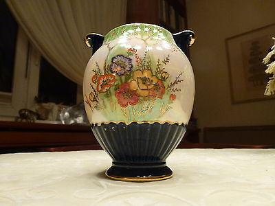 VASE - CROWN DEVON FIELDING'S - Lustre Vase mit Emaille-Handmalerei