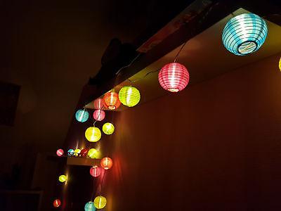 Party Lichterkette 20 LED Lampions - bunt - Außen Innen Lampion Girlande Strom