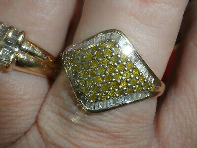 5H Ladies solid 9k gold natural yellow and clear Diamond cluster ring size Q