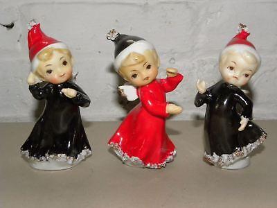 THREE VINTAGE 1960's JAPAN CHRISTMAS ANGELS SPAGHETTI TRIM