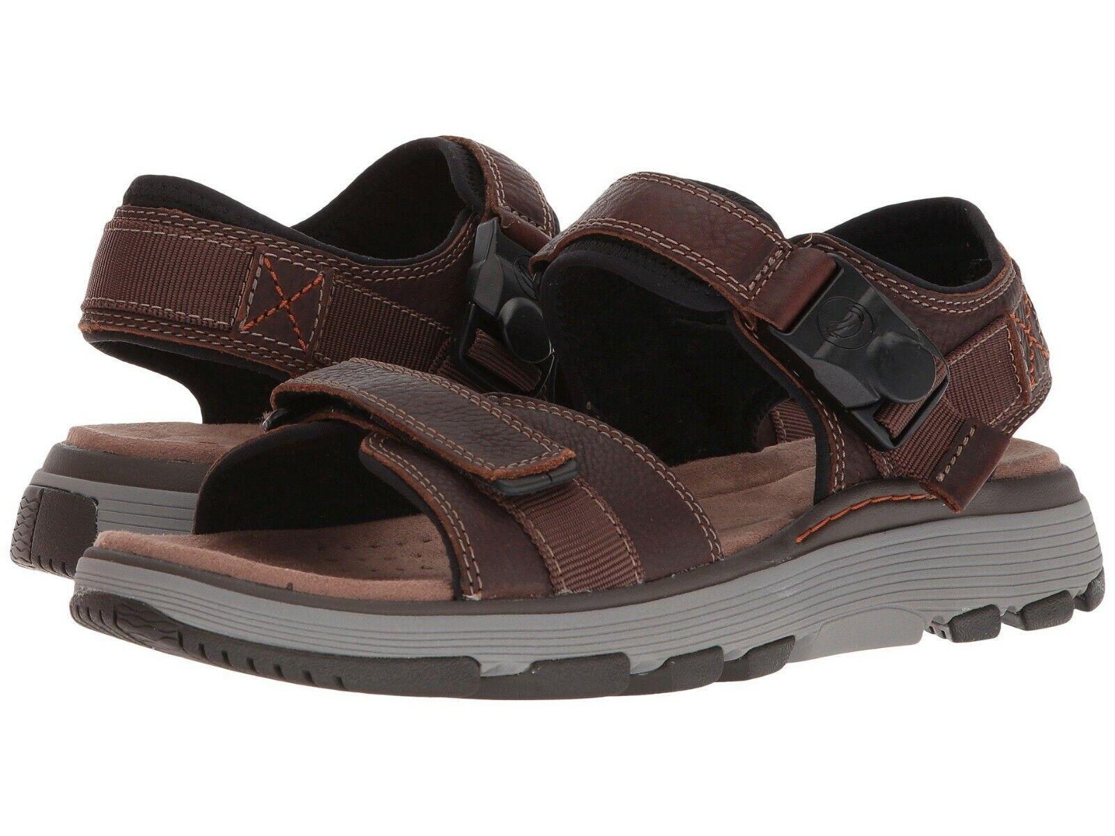Men's Shoes Clarks UN TREK PART Casual Leather Strap Sandals 31860 DARK BROWN
