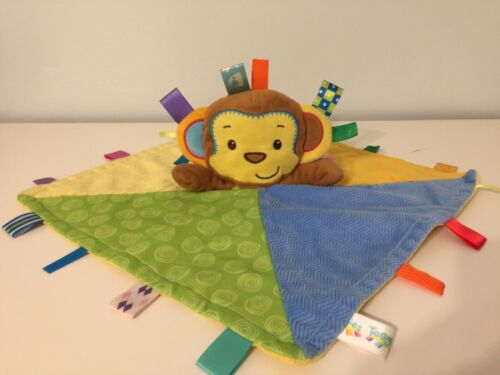 Taggies Monkey Security Blanket Lovey Tags Multicolored Ribbon Fleece Cozy Toy