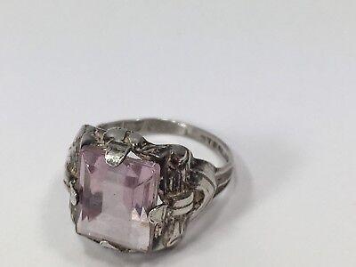Vintage Art Deco Sterling Filigree Purple Glass Stone Ring Sz5.5 Faux Amethyst