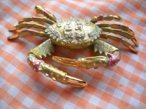 Crab Jeweled Trinket Box Swarovski Crystal Accents Enameled Pewter Hinged