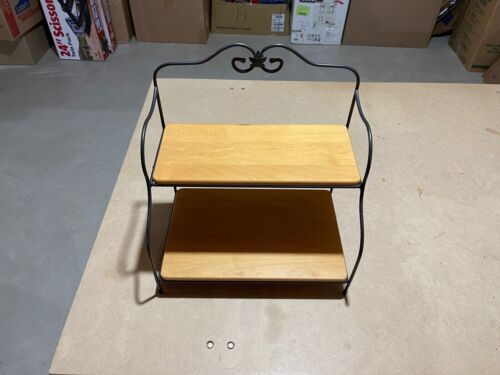 Longaberger WROUGHT IRON  Bakers Rack with both Woodcrafts shelves