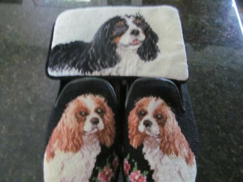 NEEDLEPOINT LADIES SHOES KING CHARLES SPANIALS + SM PURSE