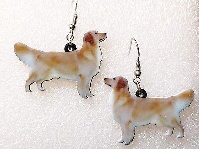 Golden Retriever Dog Realistic Double-Sided Silver Hook Earrings Acrylic Jewelry ()