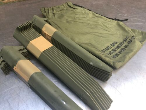 """-LOT of 24- Military Tent Stakes Antenna Tower Mast Camping Aluminum 12"""" W/Bag"""