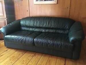 Leather sofa bed couch and chair