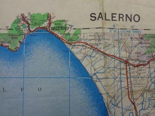 "WW2 (1943) Gulf of ""SALERNO"" original RAF / ARMY Map - ALLIED INVASION of ITALY"