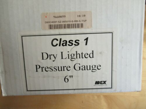 """Class 1 6"""" Dry Lighted Pressure Gauge, -30inHg to 400 PSI"""