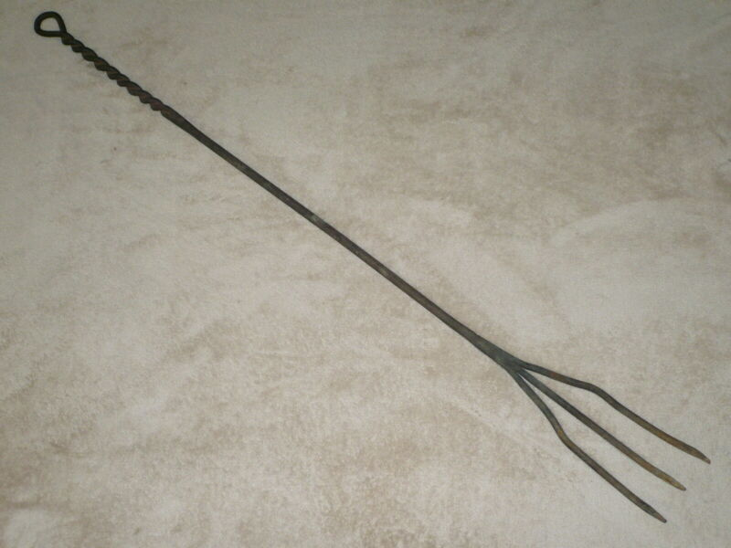 """Primitive Large 48"""" Wrought Iron Trident Fork / Poker ~ Hearth / Fireplace Tool"""