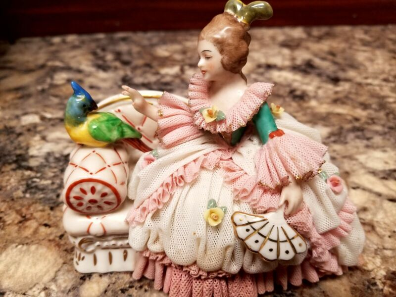 Antique Dresden West Germany Porcelain Figurine Stamped Lady on Couch with Bird