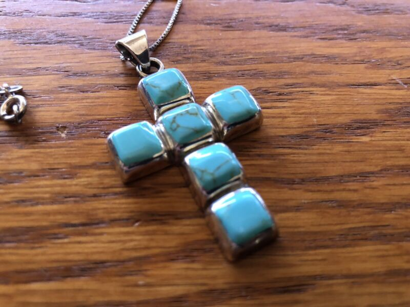 Large Vintage TAXCO Sterling Silver Polished Turquoise Cross Pendant Necklace