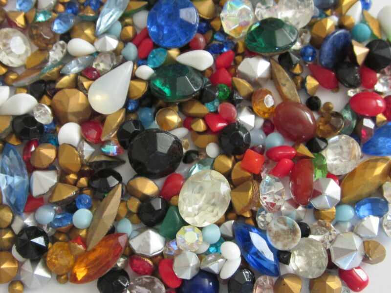 325 VINTAGE GLASS RHINESTONES & SOLID STONE LOT REPAIR JEWELRY LOOSE ASSORTMENT