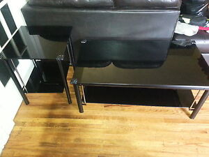 Black on black glass coffee table and end table