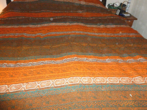 Antique 19th c Wool  Paisley Stripe  Fabric  60 x 108 great condition