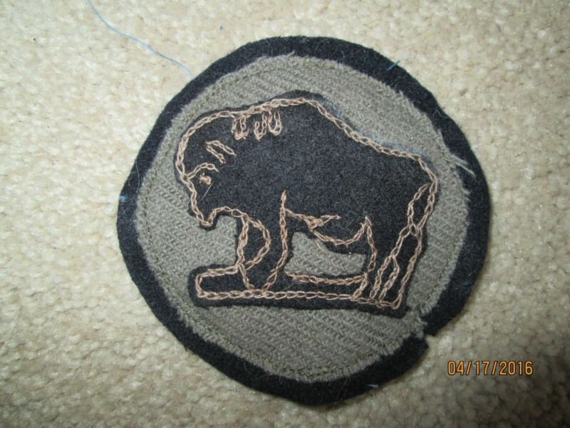 WWI US Army 92nd Division patch chain stitched wool AEF