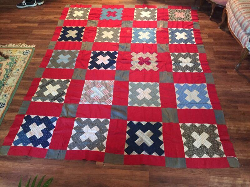 c1900 Antique Crosses Quilt Top Old Plaid Calico Fabrics Handmade 82x67