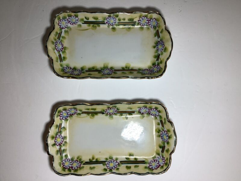 Set of 2 Vintage Handpainted Porcelain Mini 5inch Tray/Plate/Dish Made in Japan