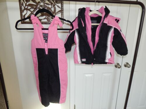 Big Chill 3T Toddler Girls Snow Bib and Jacket Pink and Black