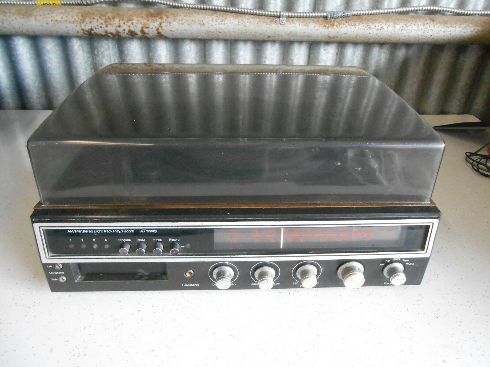 Vintage JC Penney 683-1741 AM/FM Stereo 8 Track Player/Recorder Turntable Works - $19.99