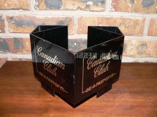 "Vintage Canadian Club Whiskey ""Try C.C."" Napkin Holder Corner Bar Caddy Display"