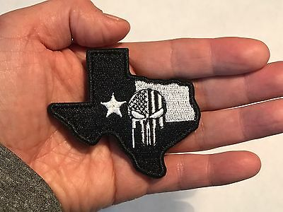 TEXAS SHAPE FLAG DEVGRU SNIPER Punisher Skull Embroider Morale Tactical Patch](Skull Shapes)