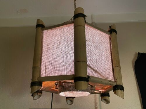 Orchids of Hawaii Tiki Light Swag Bamboo Chandelier Hanging Ceiling Lamp Vtg #2