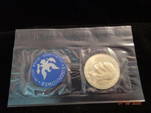 1974-S Eisenhower 40% Silver Dollar, BU, Soft Pack in Blue Envelope