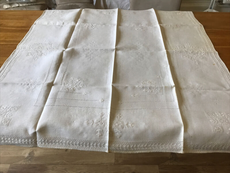 """Vintage Embroidered Linen White Square Tablecloth 41"""""""