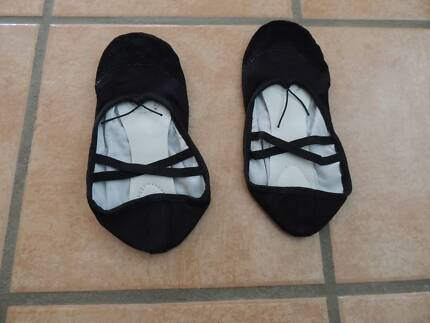 black ballet shoes and lace up jazz shoes