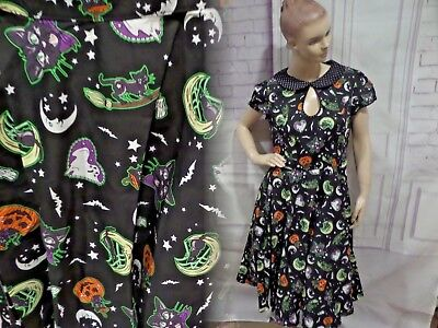 NWT HELL BUNNY GOTHIC HALLOWEEN BLACK CAT SALEM WITCH 50'S DRESS Sz 2XL - Cat Woman Dress Up