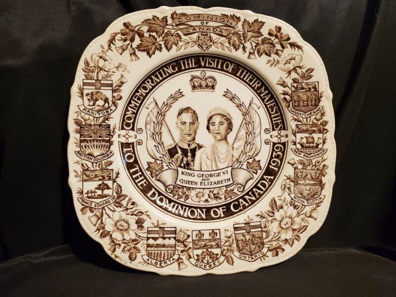 "King George VI & Queen Elizabeth commemorative plate Canada 1939 Royal Ivory 9"""