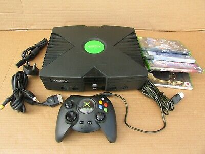 MICROSOFT XBOX ORIGINAL - BLACK - WITH GAMES AND ACCESSORIES