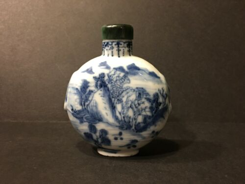 Antique Chinese Blue and White Snuff Bottle, Qianlong mark, 18th/19th Century