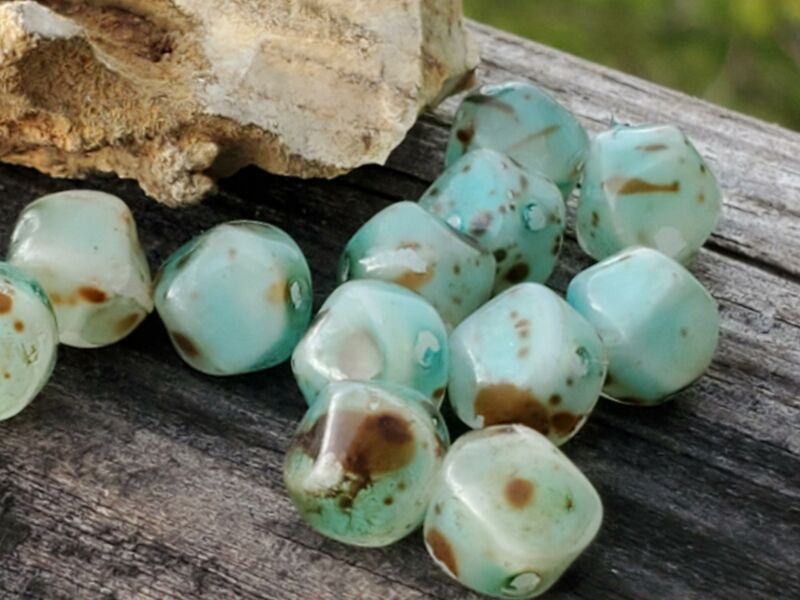 12 Vintage Spotted Green 8mm Painted Coated Chunky Glass Beads Unique Jewelry